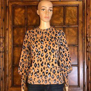 Ann Taylor Puff Bishop Sleeve Jacquard Sweater